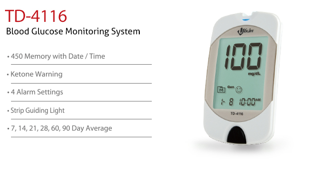 features of Blood Glucose Monitoring System TD-4116. Diagnostics, Home Care, Professional Instrument, TeleHealth System, Taiwan's largest Blood Glucose Meter Manufacturer and Supplier