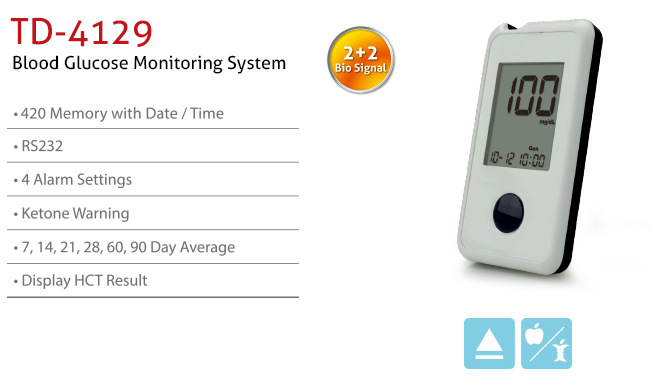 features of Blood Glucose Monitoring System TD-4129. Diagnostics, Home Care, Professional Instrument, TeleHealth System, Taiwan's largest Blood Glucose Meter Manufacturer and Supplier