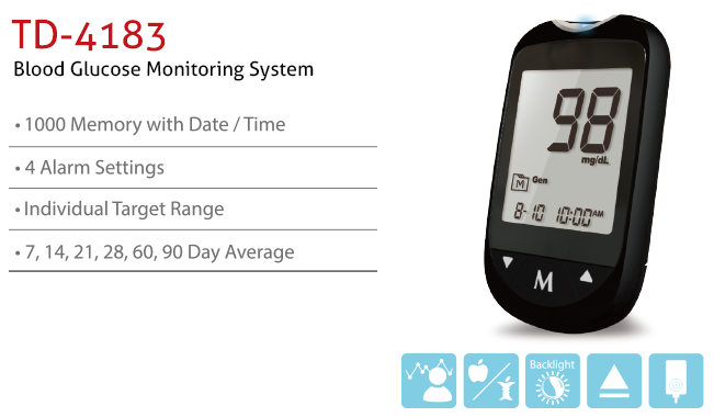 features of Blood Glucose Monitoring System TD-4183. Diagnostics, Home Care, Professional Instrument, TeleHealth System, Taiwan's largest Blood Glucose Meter Manufacturer and Supplier