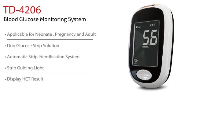 features of Blood Glucose Monitoring System TD-4206. Diagnostics, Home Care, Professional Instrument, TeleHealth System, Taiwan's largest Blood Glucose Meter Manufacturer and Supplier