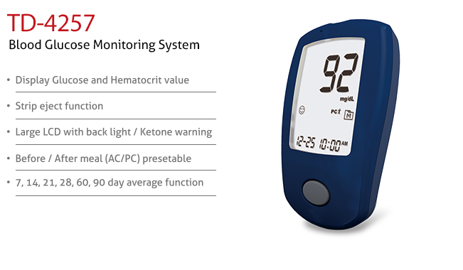 features of Blood Glucose Monitoring System TD-4257. Diagnostics, Home Care, Professional Instrument, TeleHealth System, Taiwan's largest Blood Glucose Meter Manufacturer and Supplier