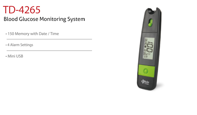 features of Blood Glucose Monitoring System TD-4265. Diagnostics, Home Care, Professional Instrument, TeleHealth System, Taiwan's largest Blood Glucose Meter Manufacturer and Supplier