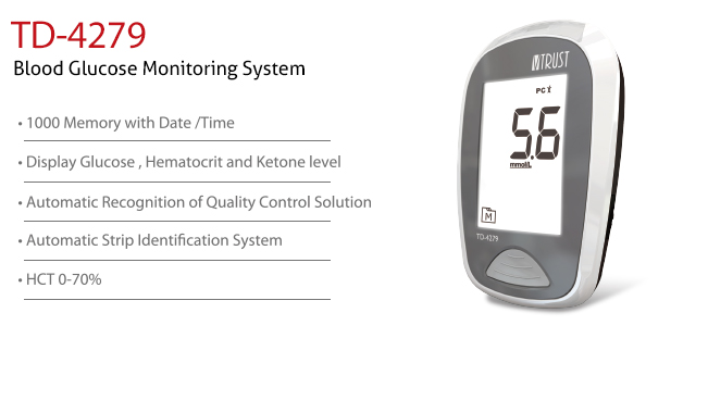 features of Blood Glucose Monitoring System TD-4279C. Diagnostics, Home Care, Professional Instrument, TeleHealth System, Taiwan's largest Blood Glucose Meter Manufacturer and Supplier