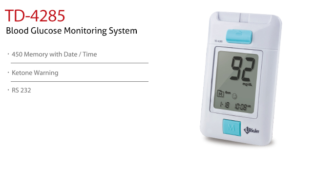 features of Blood Glucose Monitoring System TD-4285A. Diagnostics, Home Care, Professional Instrument, TeleHealth System, Taiwan's largest Blood Glucose Meter Manufacturer and Supplier