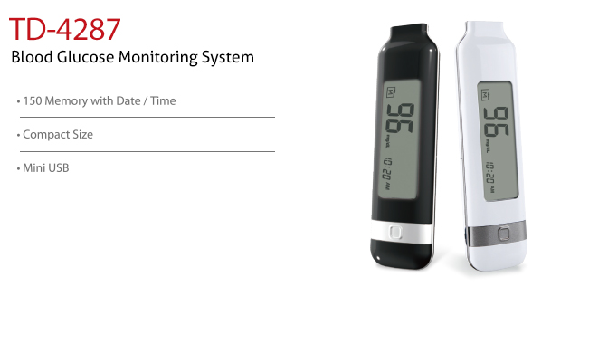 features of Blood Glucose Monitoring System TD-4287. Diagnostics, Home Care, Professional Instrument, TeleHealth System, Taiwan's largest Blood Glucose Meter Manufacturer and Supplier