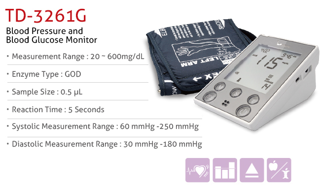 features of 2-in-1 Blood Glucose and Blood Pressure Monitor TD-3250H. Diagnostics, Home Care, Professional Instrument, TeleHealth System, Taiwan's largest Blood Glucose Meter Manufacturer and Supplier